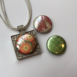 Jewelry - Silver Necklace with Interchangeable Centers